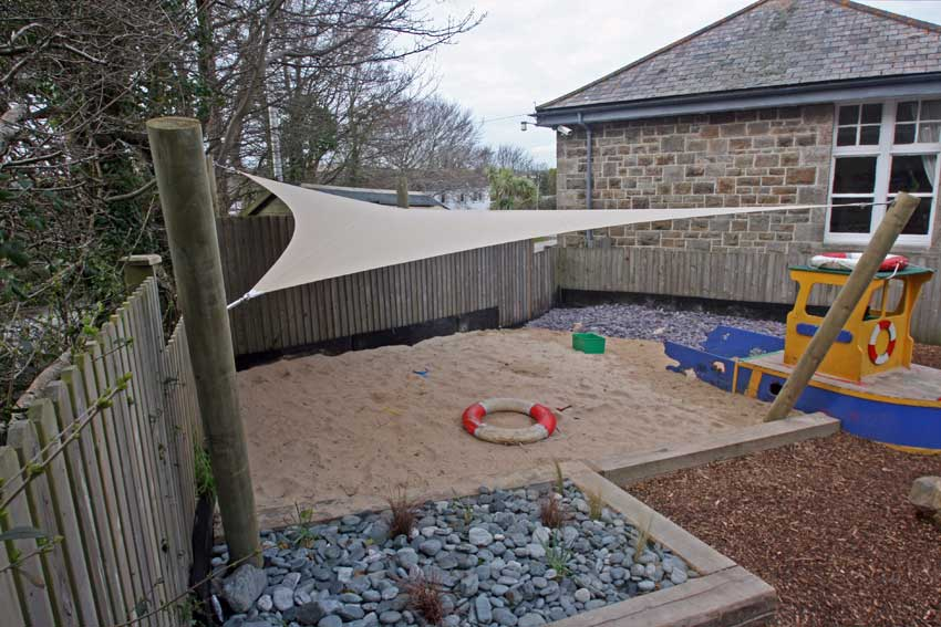 RB Sails recently manufactured and installed a shade sail for Hopscotch Nursery in Hayle, Cornwall