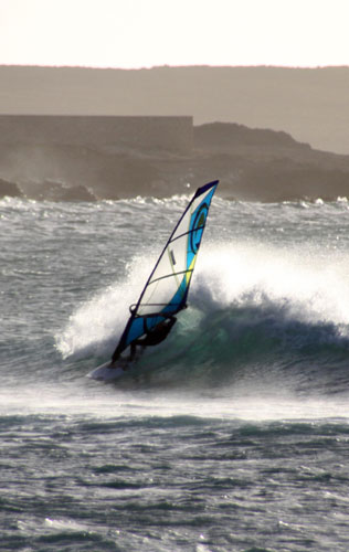 Ross Windsurf sails shredding in Boa Vista, Cape Verde Islands