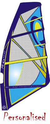 Any logo, any colour. Ross can make the custom windsurfing sail YOU want