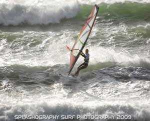Sam Lawley, BWA Ladies winner at Marazion on a 4 batten Ross custom wave sail